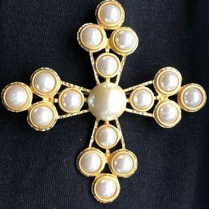 Ann Taylor Baroque Pearl Cross Brooch